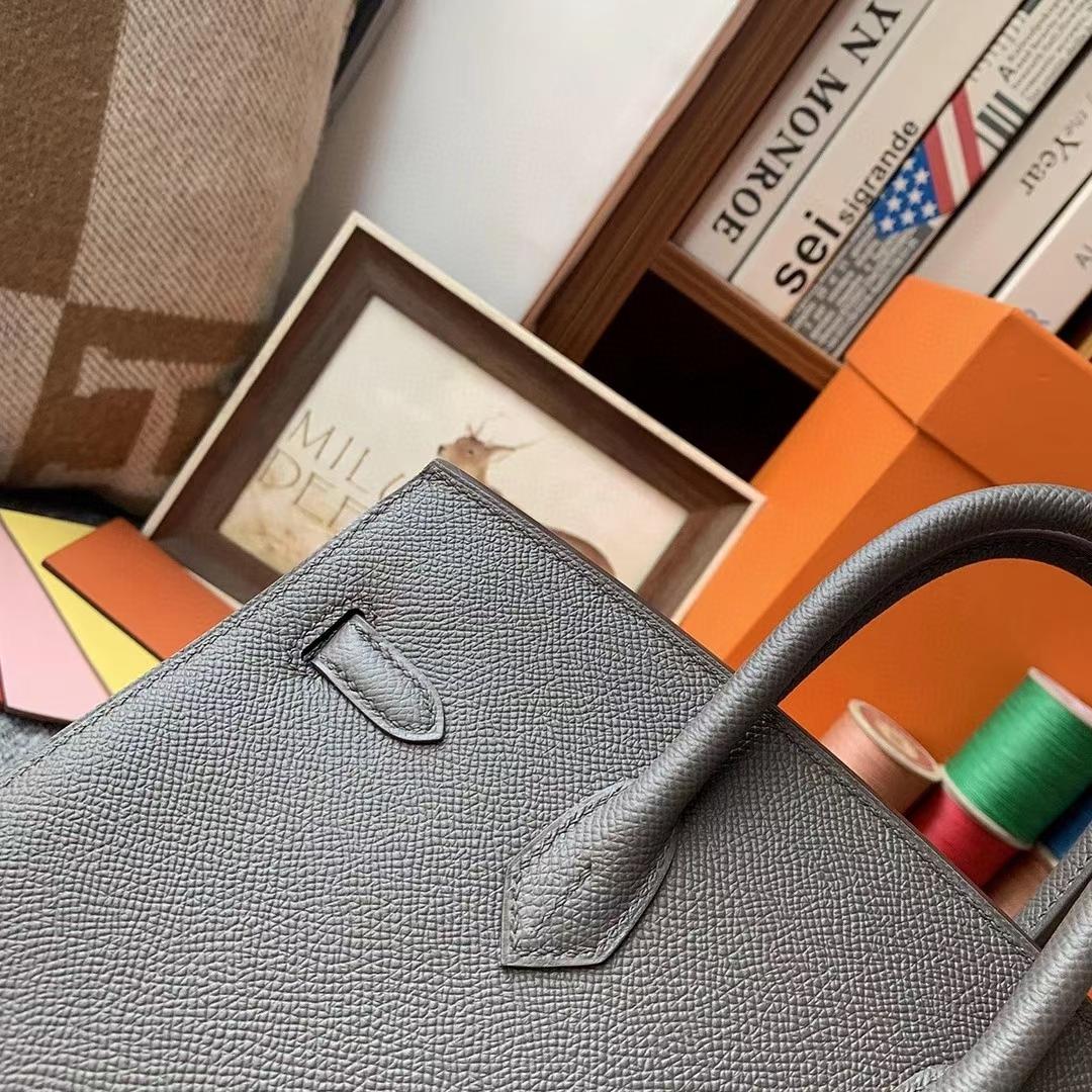 Hermès(爱马仕)8F锡器灰 原厂御用顶级Epsom 皮 Birkin 25 外缝 金扣