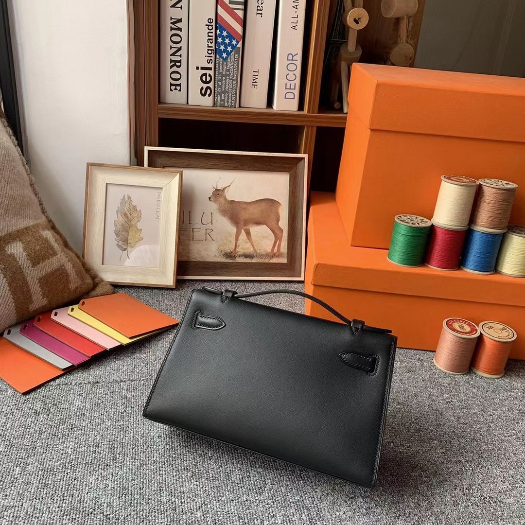 Hermès(爱马仕)Mini Kelly 迷你凯莉 CK89黑色 原厂御用顶级Swift 皮 金扣 银扣 现货