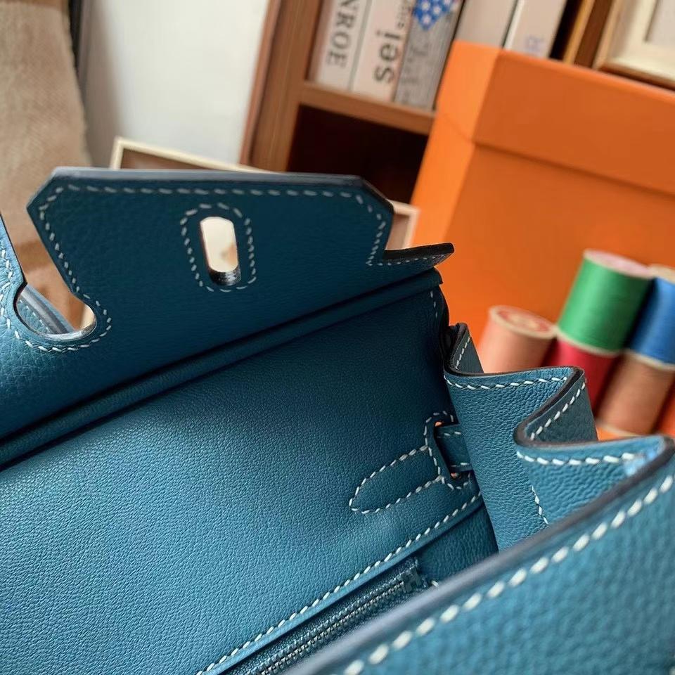 Hermès(爱马仕)Birkin 铂金包 牛仔蓝 原厂御用顶级小牛皮 银扣 30cm 现货