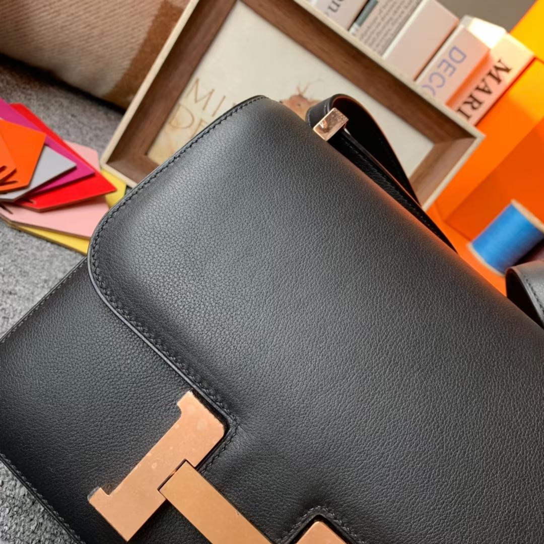 Hermès(爱马仕)Constance 空姐包 黑色 原厂御用顶级Ever Color 皮 玫瑰金扣 24cm