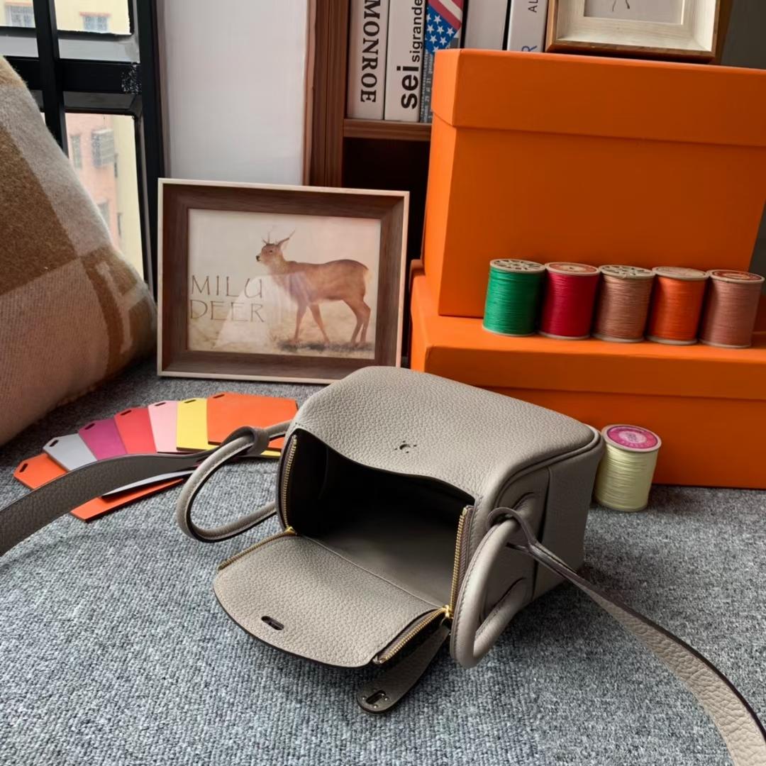 Hermès(爱马仕)Mini Lindy 迷你琳迪 M8沥青灰 原厂御用顶级TC皮 金扣