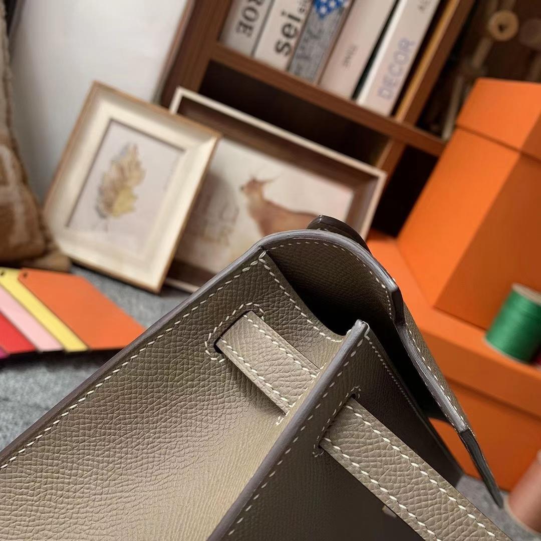Hermès(爱马仕)Mini Kelly 迷你凯莉 CK18大象灰 原厂御用顶级Epsom皮 一代 金扣 银扣 现货