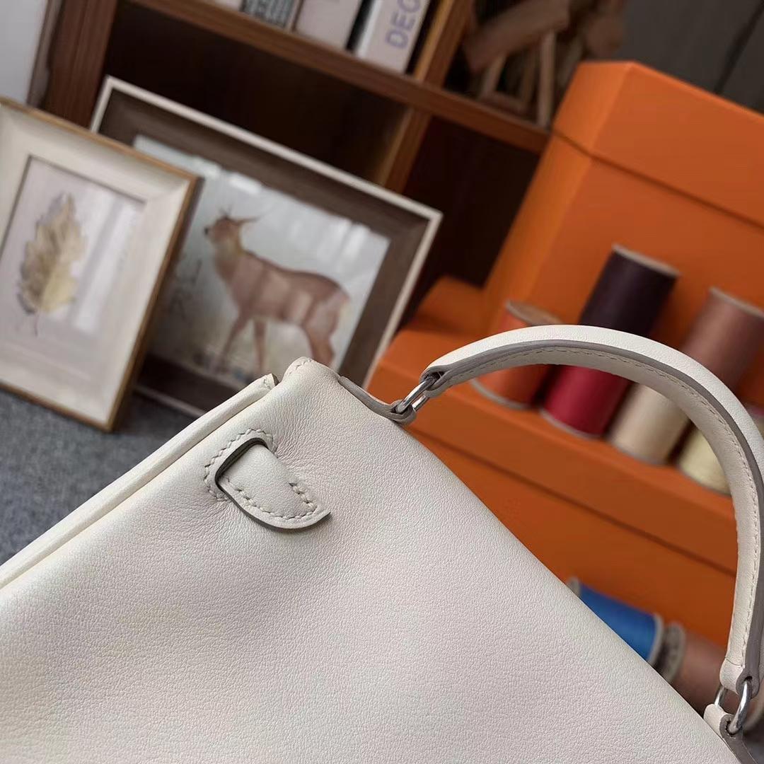 Hermès(爱马仕)Kelly doll 奶昔白拼玛瑙蓝 原厂御用顶级Swift 皮 银扣