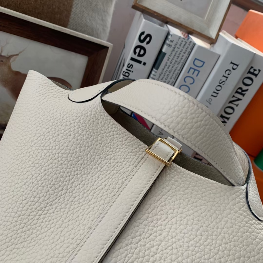 Hermès(爱马仕)Picotin Lock 菜篮子 奶油白 原厂御用顶级TC 皮 18cm 金扣 现货
