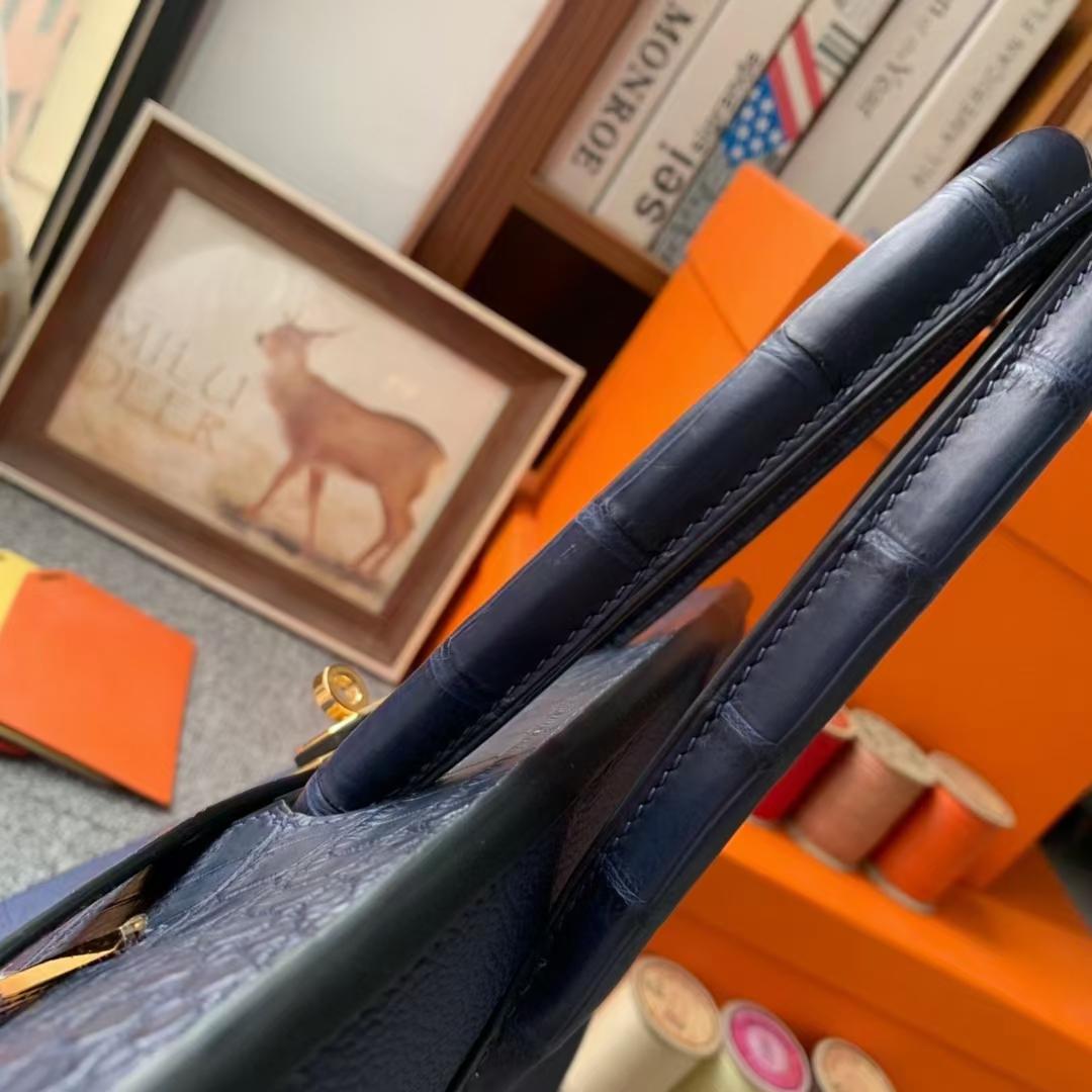 Hermès(爱马仕)Birkin 铂金包 午夜蓝 原厂御用顶级小牛皮拼鳄鱼皮 金扣 30cm