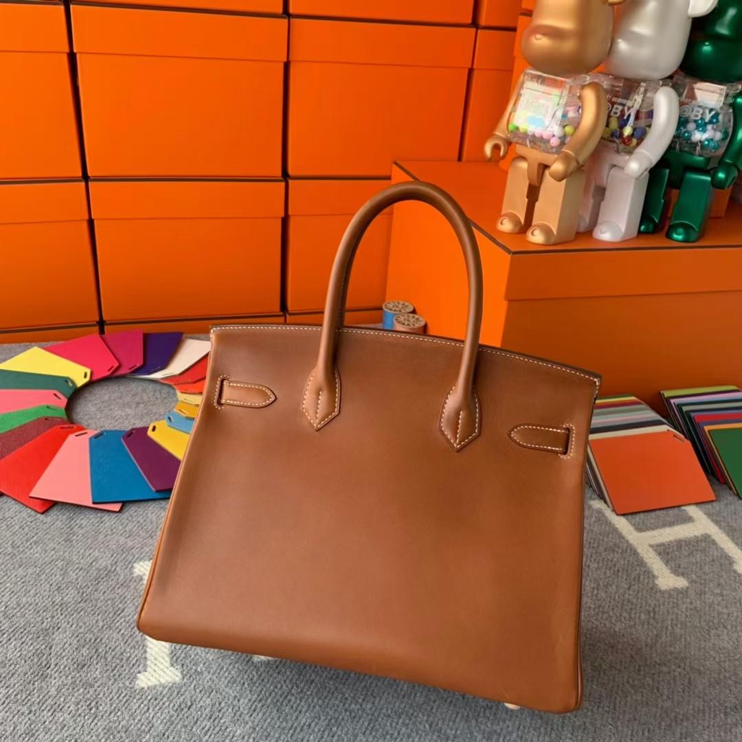 Hermès(爱马仕)Birkin 铂金包 金棕色 原厂御用顶级马鞍皮 金扣 30cm