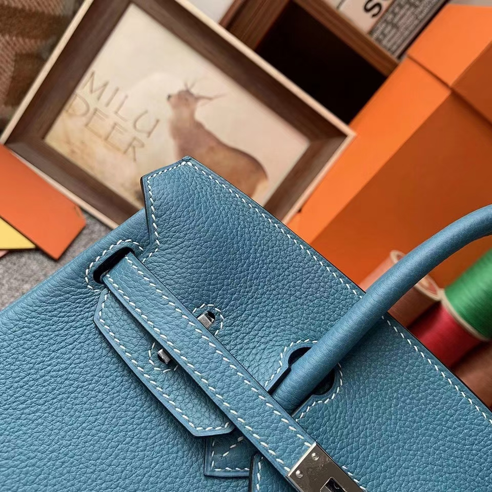 Hermès(爱马仕)Birkin 铂金包 牛仔蓝 原厂御用顶级小牛皮  银扣 25cm 现货