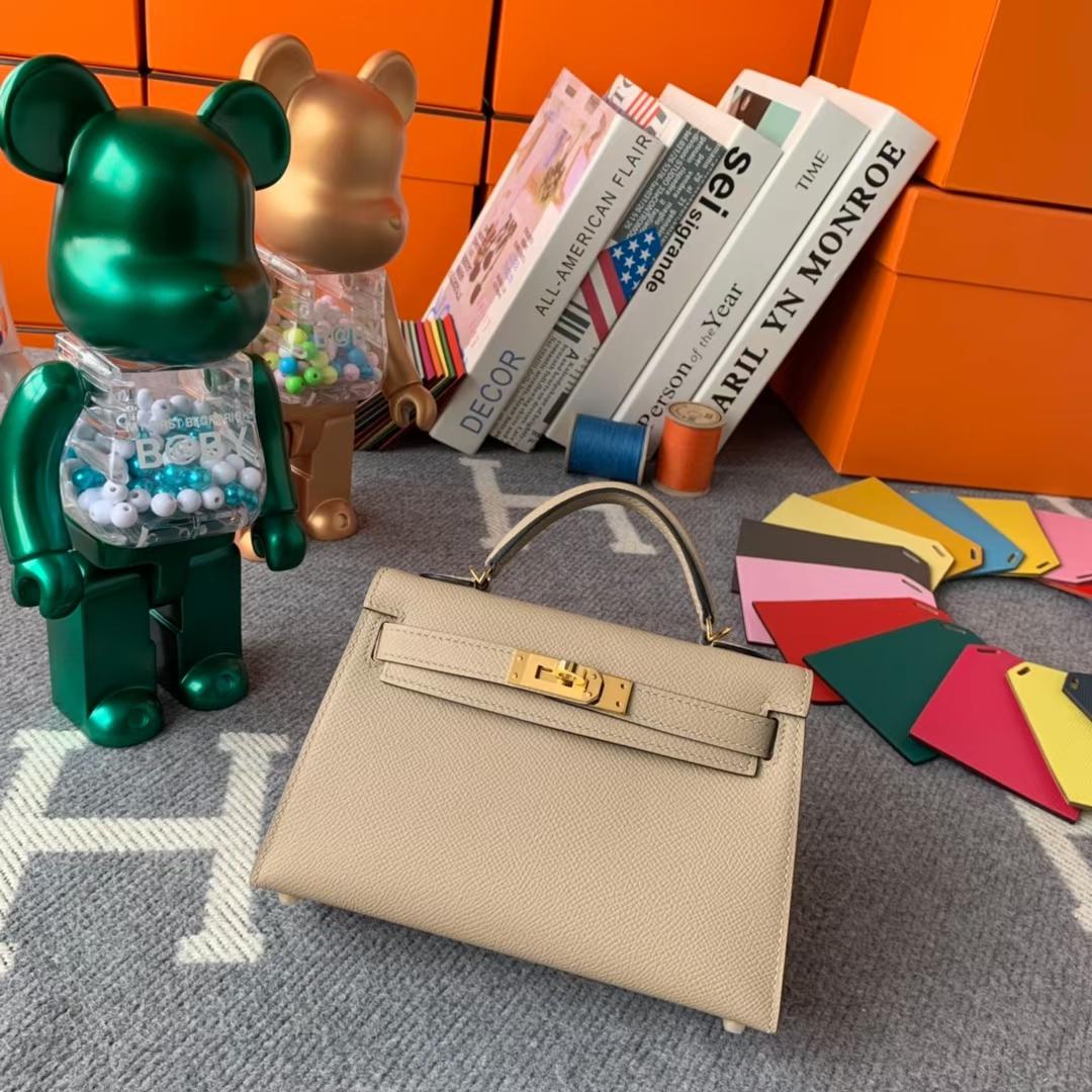 Hermès(爱马仕)Mini Kelly 迷你凯莉 风衣灰 原厂御用顶级Epsom 皮 二代 金扣