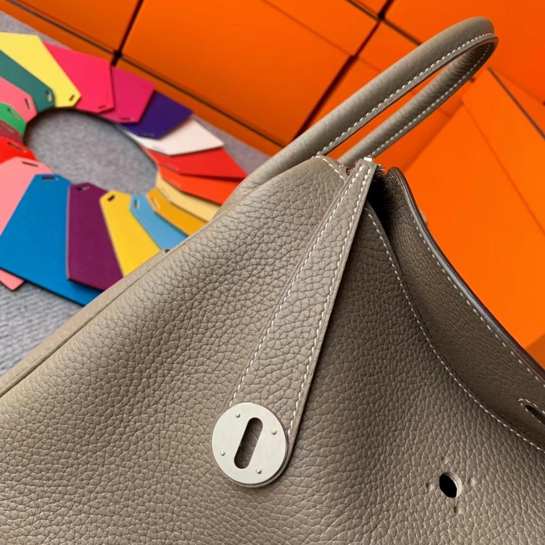 Hermès(爱马仕)Lindy 琳迪包 CK18 大象灰 原厂御用顶级TC皮  银扣 30cm  现货