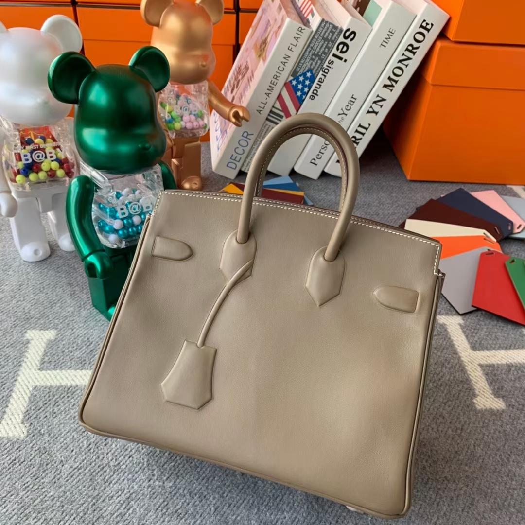 Hermès(爱马仕)新款 Birkin 铂金包 shadow 幻影包 大象灰 25cm