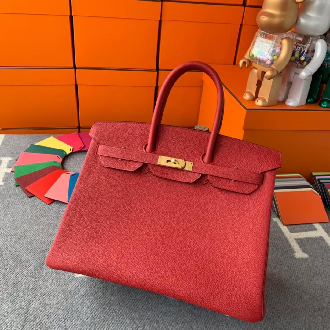 Hermès(爱马仕)Birkin 铂金包 Q5 中国红 糖果红 原厂御用顶级小牛皮 金扣 35cm