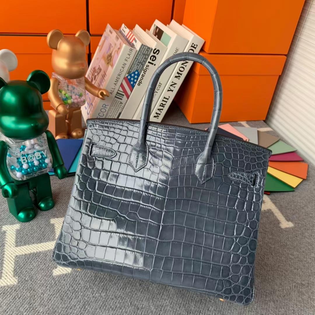 Hermès(爱马仕)Birkin 铂金包 风暴蓝 原厂御用顶级亮面鳄鱼皮 30 金扣 现货