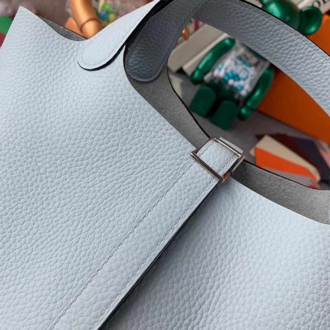 Hermès(爱马仕)Picotin Lock 菜篮子 圣杯蓝 原厂御用顶级TC皮 18cm 银扣