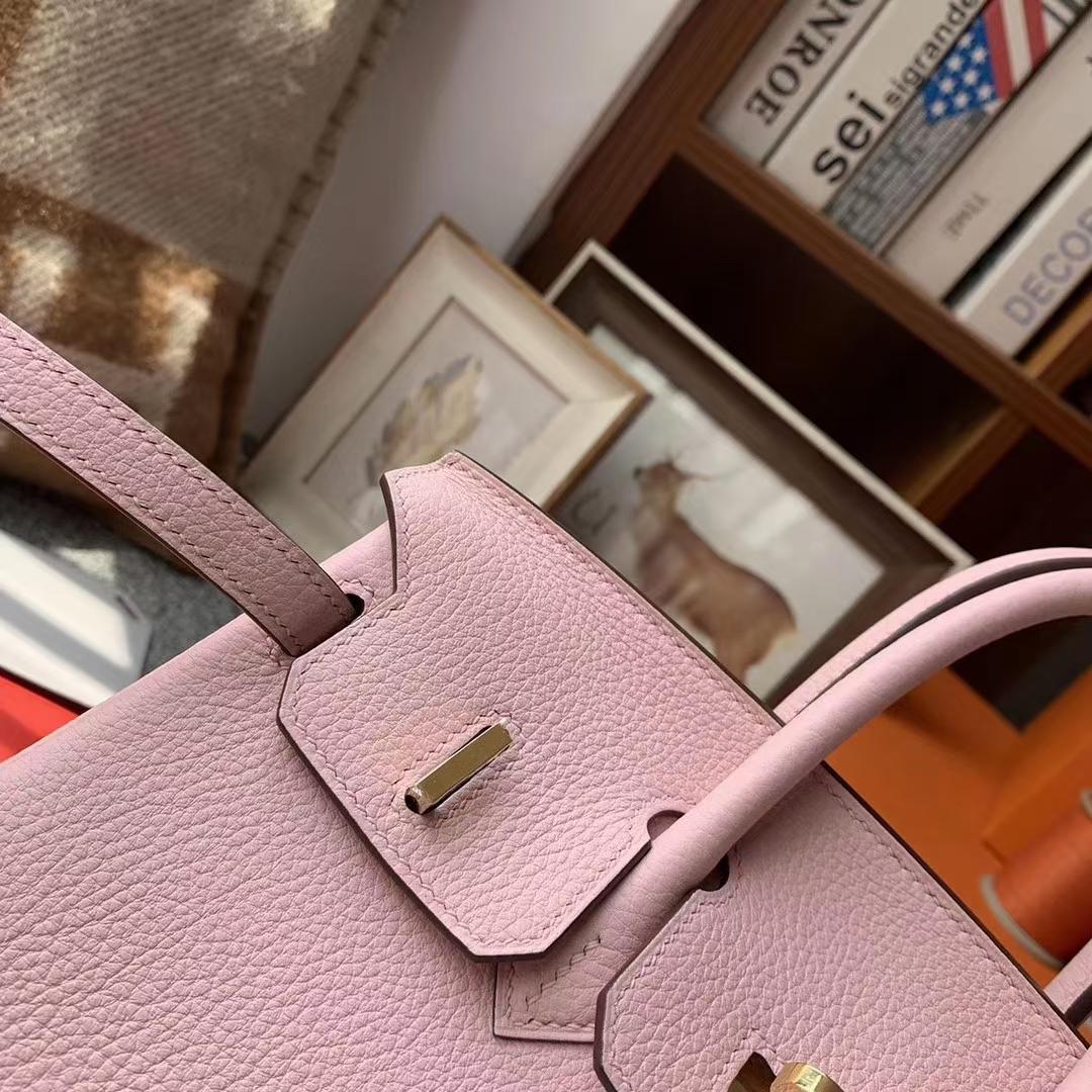 Hermès(爱马仕)Birkin 铂金包 3Q新樱花粉 原厂御用顶级小牛皮 25 银扣 现货