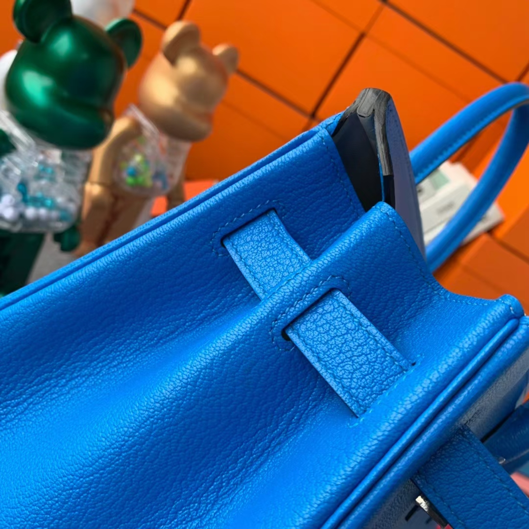 Hermès(爱马仕)Birkin 铂金包 水妖蓝内拼奶昔白 原厂御用顶级山羊皮 银扣 30cm
