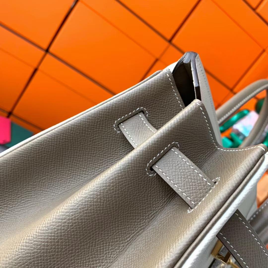 Hermès(爱马仕)Birkin 铂金包 奶昔白拼大象灰 原厂御用顶级Epsom皮 金扣 35cm
