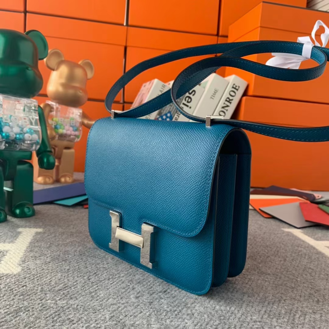 Hermès(爱马仕)Constance 空姐包 伊滋密尔蓝 原厂御用顶级Epsom皮 19 银扣 现货