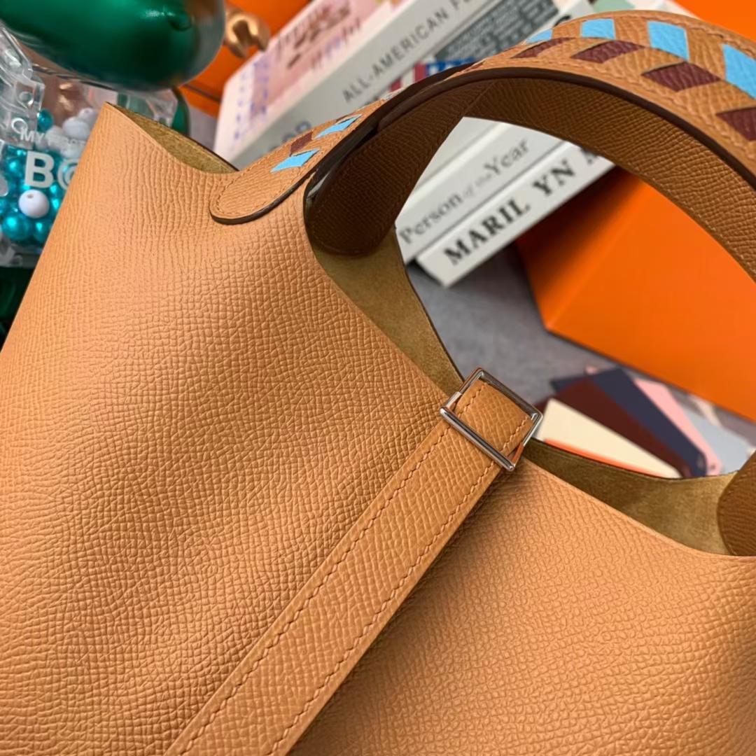 Hermès(爱马仕)Picotin Lock 菜篮子 C37 金棕色 编织肩带 原厂御用顶级Epsom皮 18cm 银扣