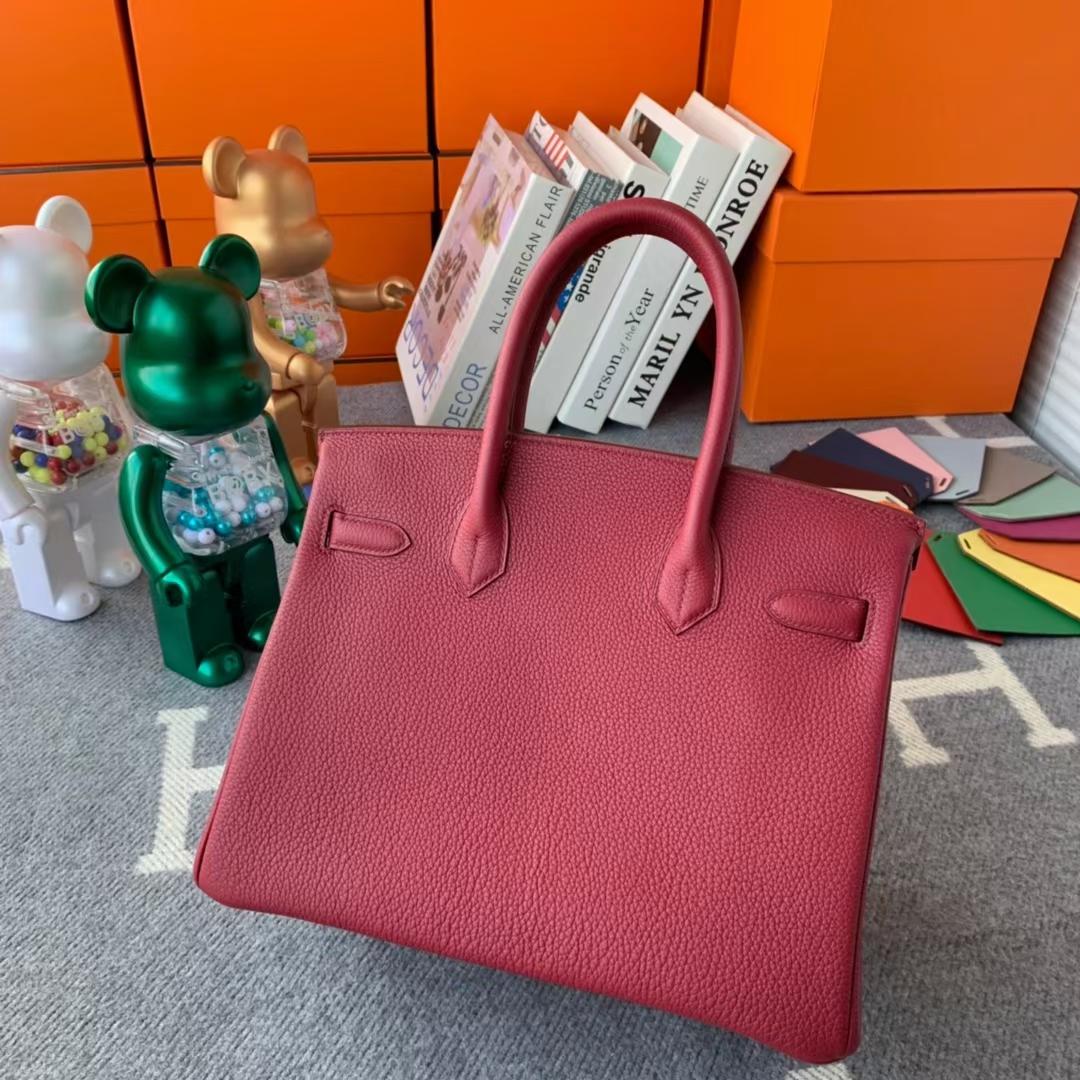 Hermès(爱马仕)Birkin 铂金包 石榴红 原厂御用顶级小牛皮 金扣 30cm 现货