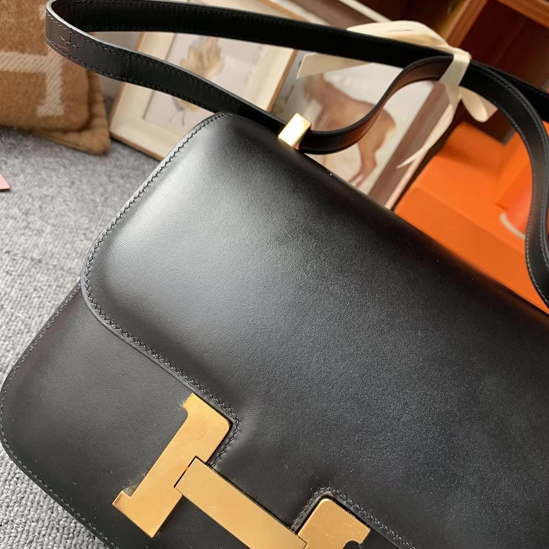 Hermès(爱马仕)Constance 空姐包 CK89黑色 原厂御用顶级Box 皮 19 金扣 现货