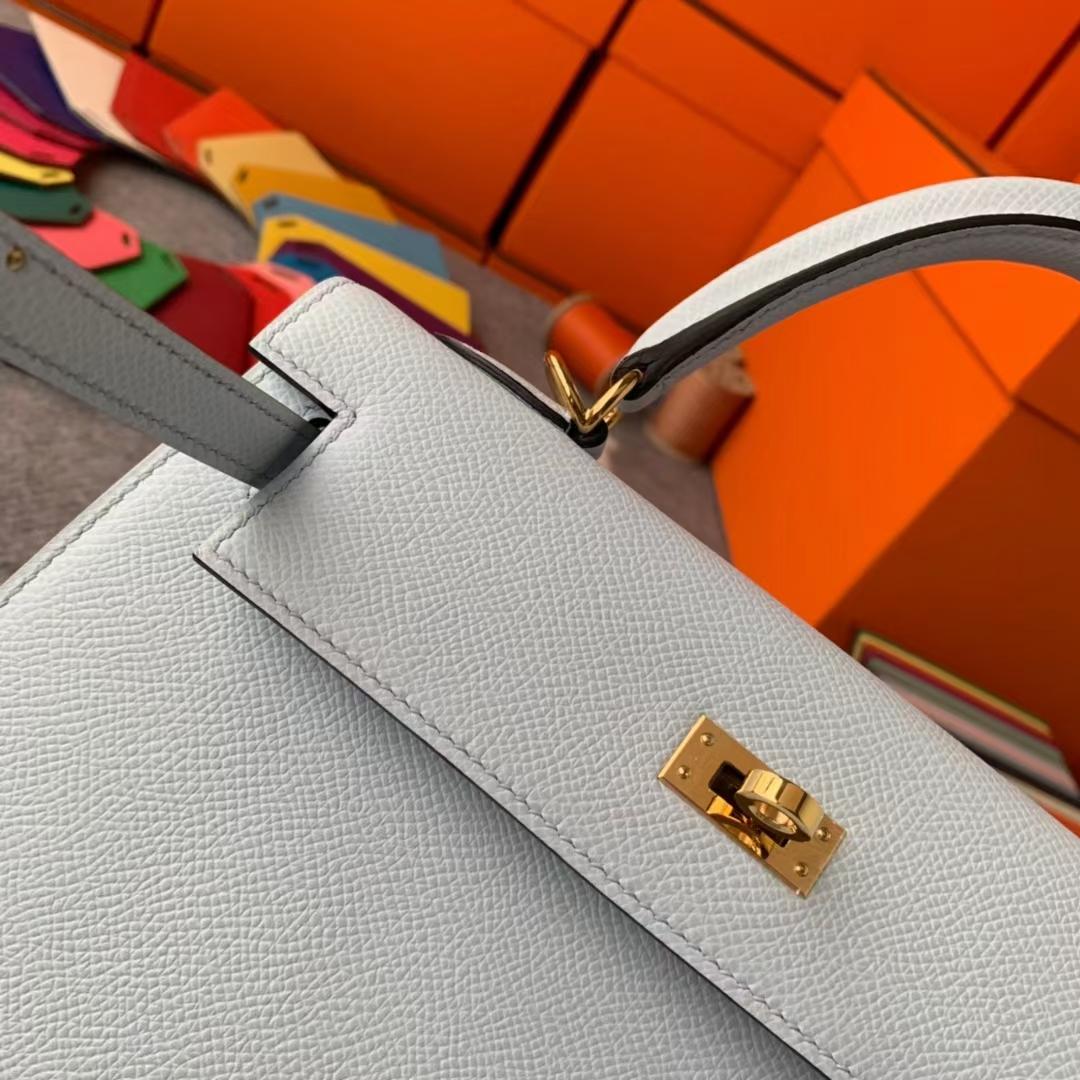 Hermès(爱马仕)Kelly 凯莉包 雾蓝色 原厂御用顶级Epsom皮 外缝 金扣 25cm