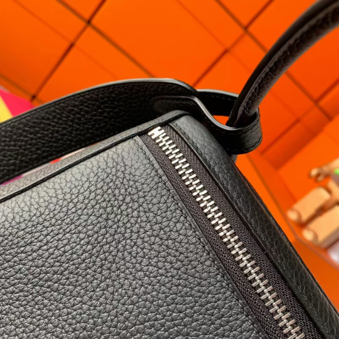 Hermès(爱马仕)Lindy 琳迪包 CK89黑色 原厂御用顶级TC皮  银扣 30cm  现货
