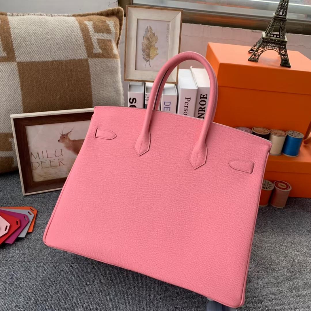 Hermès(爱马仕)Birkin 铂金包 1Q奶昔粉 原厂御用顶级Epsom皮 银扣 35cm