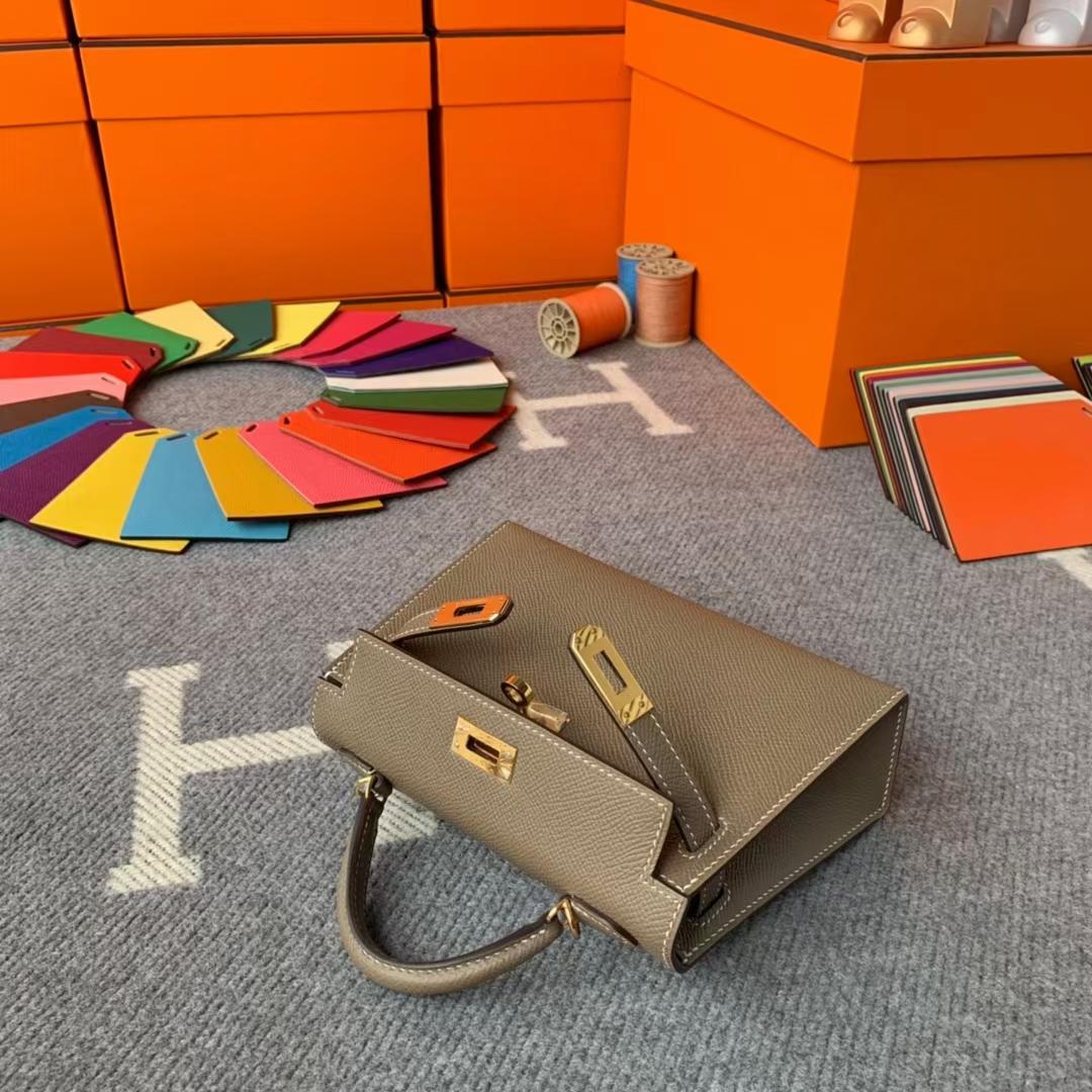 Hermès(爱马仕)Mini Kelly 迷你凯莉 CK18大象灰 原厂御用顶级Epsom 皮 二代 金扣 现货