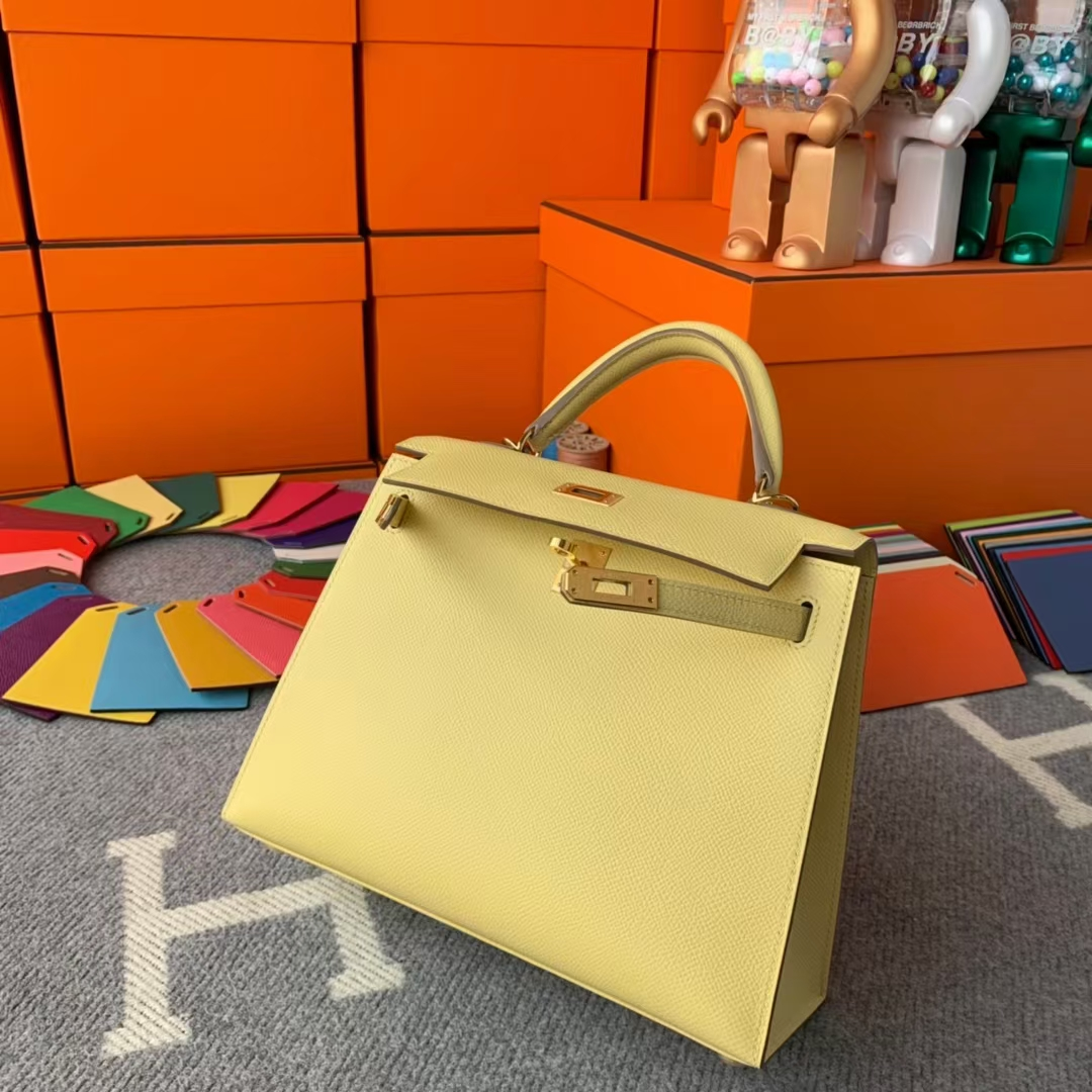 Hermès(爱马仕)Kelly 凯莉包 1Z小鸡黄 原厂御用顶级Epsom皮 25 外缝 金扣