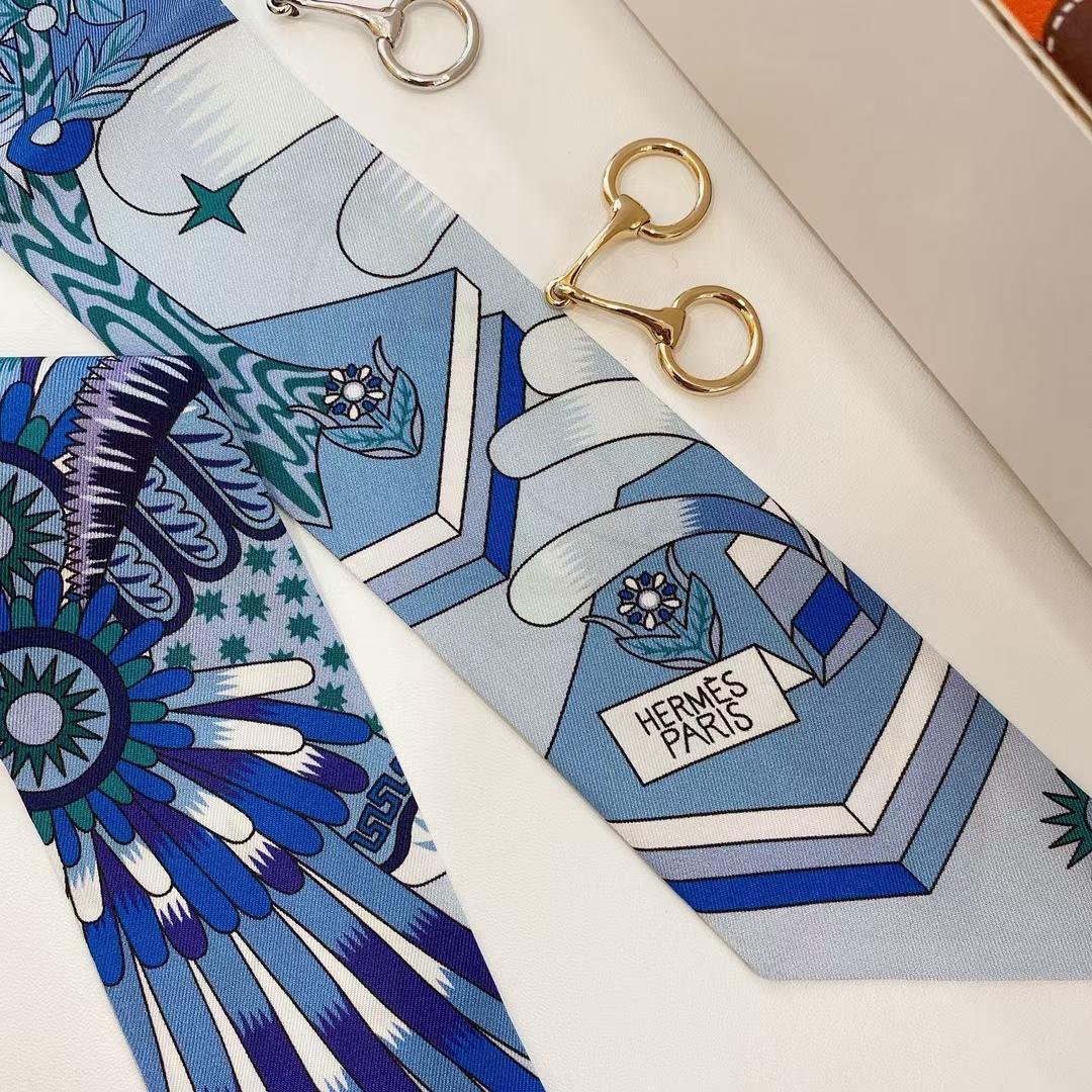 Hermès(爱马仕)新款 丝巾 scarves《飞马之源Twilly》蓝色