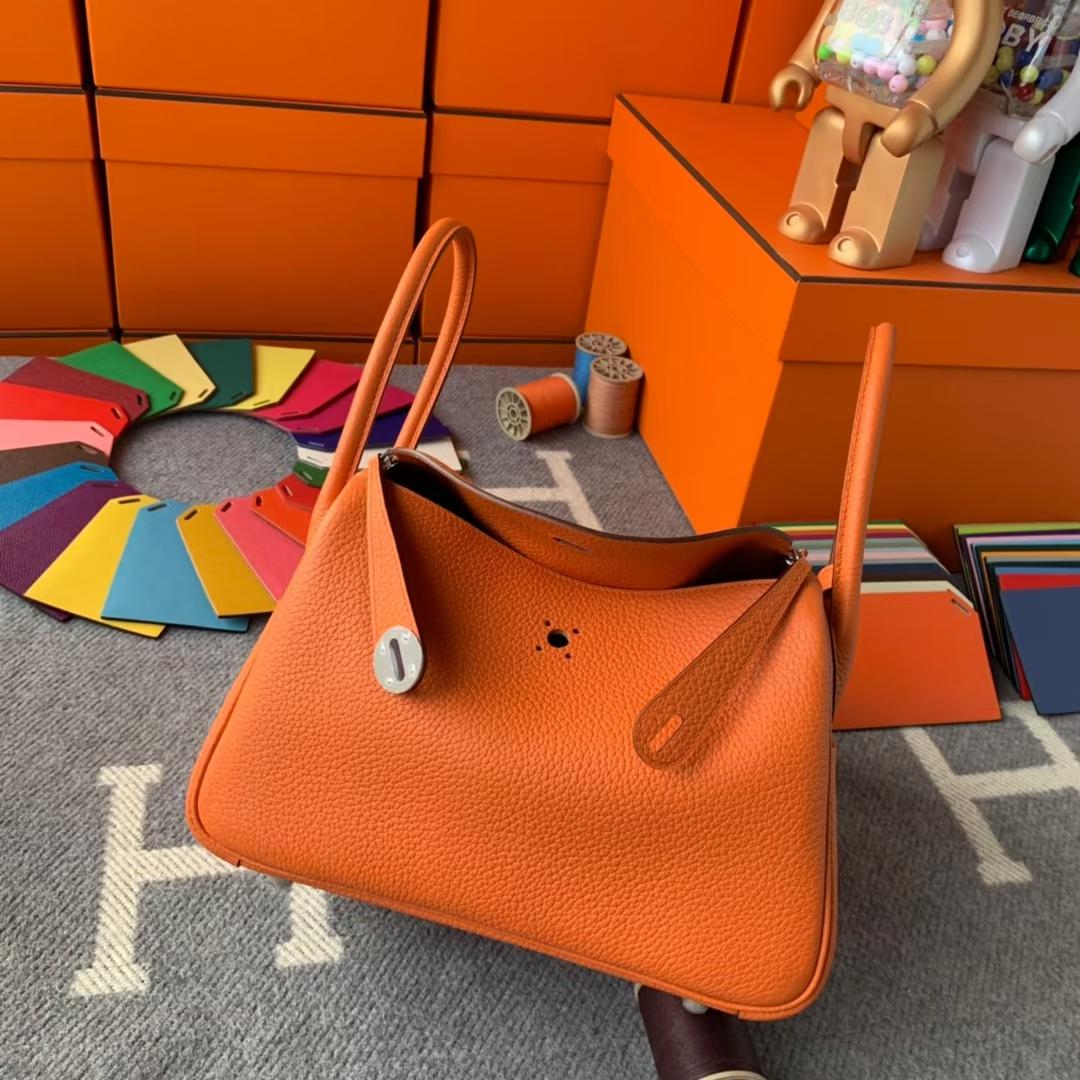 Hermès(爱马仕)Lindy 琳迪包 93经典橙色 原厂御用顶级 TC皮 银扣 26cn