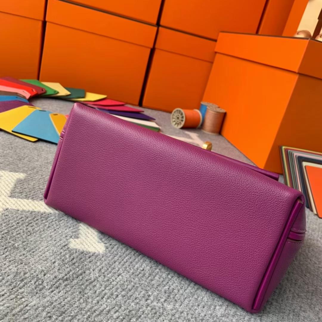 Hermès(爱马仕)Mini 2424 海葵紫 原厂御用顶级Ever Color皮拼Swift 皮 金扣