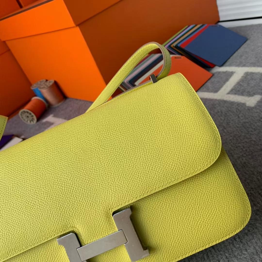 Hermès(爱马仕)Constance 康斯坦斯 C9 鹅蛋黄 原厂御用顶级Epsom皮 银扣 26cm