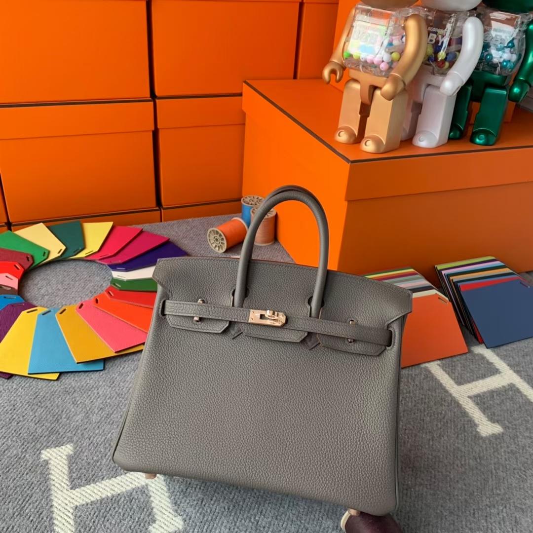 Hermès(爱马仕)Birkin 铂金包 8F 锡器灰 原厂御用顶级小牛皮 玫瑰金扣 25cm 现货