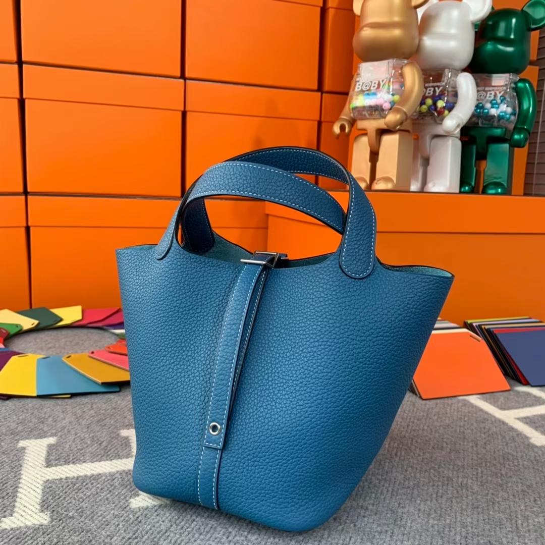 Hermès(爱马仕)Picotin Lock 菜篮包 牛仔蓝 原厂御用顶级TC 皮 银扣 18cm