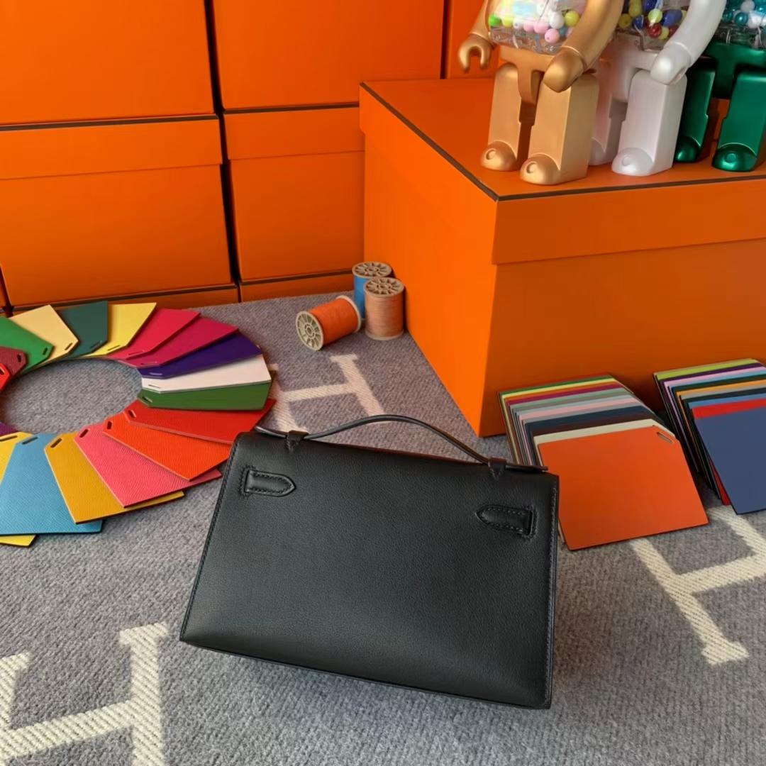 Hermès(爱马仕)Mini Kelly 迷你凯莉 CK89黑色 原厂御用顶级Swift 皮 银扣 现货