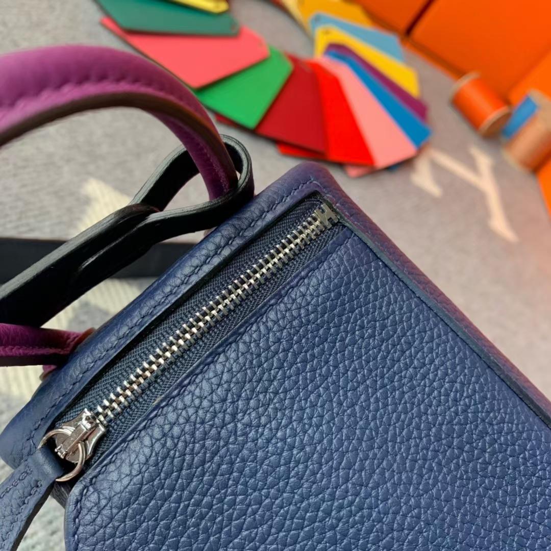 Hermès(爱马仕)Mini Lindy 迷你琳迪 宝石蓝拼午夜蓝拼海葵紫 原厂御用顶级小牛皮 银扣