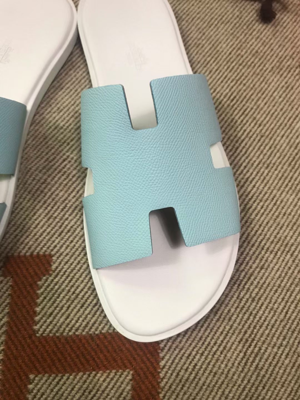 Hermès(爱马仕)男拖 epsom 微风蓝 白垫底