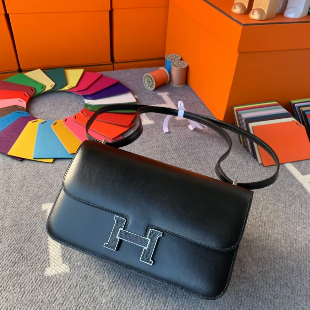 Hermès(爱马仕)Constance 空姐包 黑色 原厂御用顶级Box 皮 蜥蜴扣 26cm