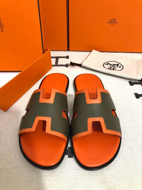 Hermès(爱马仕)男拖 新款 swift 军绿 橙色压边
