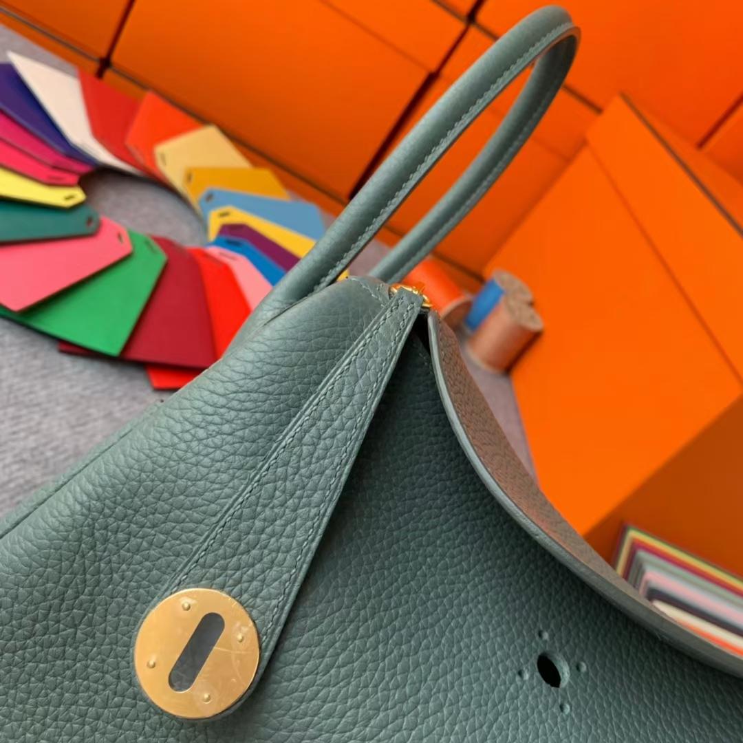 Hermès(爱马仕)Lindy 琳迪包 杏绿色 原厂御用顶级TC皮 金扣 26cm 现货