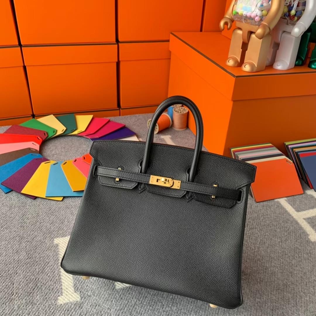 Hermès(爱马仕)Birkin 铂金包 CK89黑色 原厂御用顶级Epsom 皮 金扣 25 现货