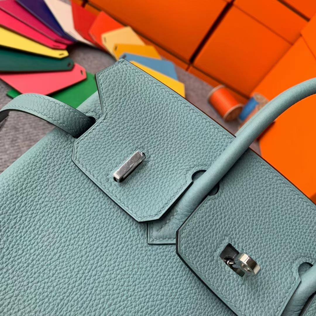 Hermès(爱马仕)Birkin 铂金包 天青色 原厂御用顶级小牛皮 银扣 25cm