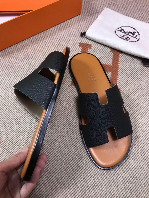 Hermès(爱马仕)男拖 epsom 黑色 浅棕垫 黑底