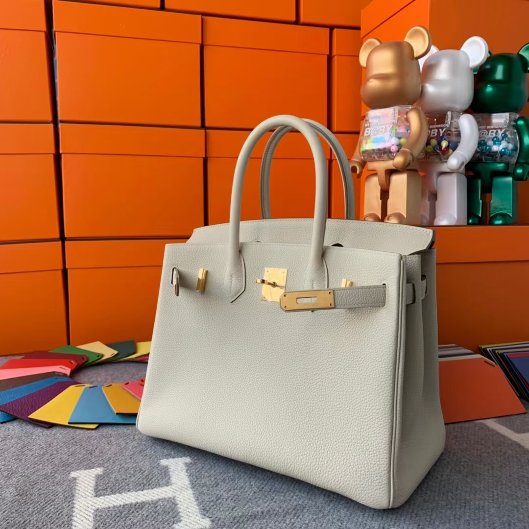 Hermès(爱马仕)Birkin 铂金包 奶昔白 原厂御用顶级小牛皮 金扣 30cm 现货