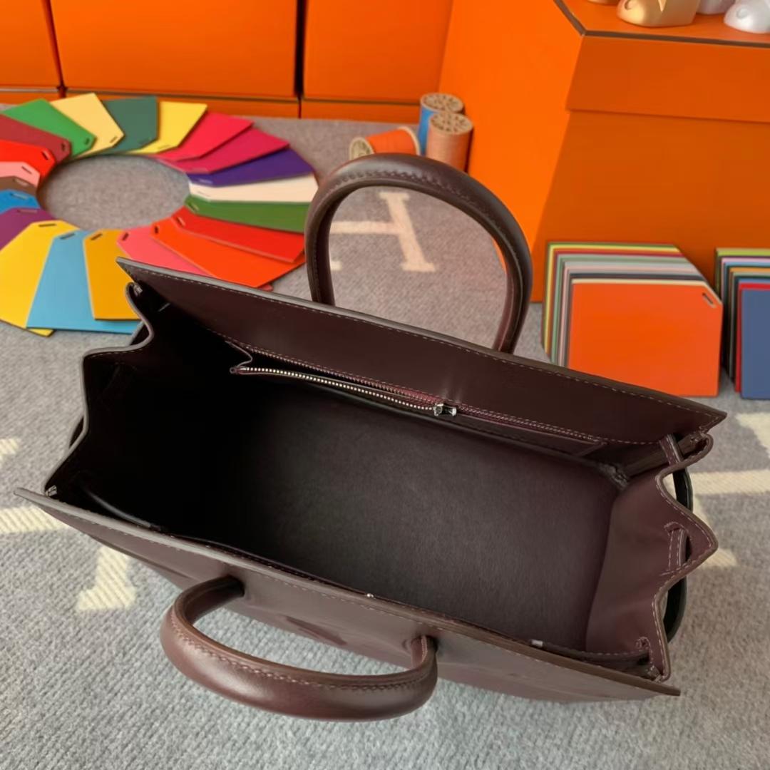 Hermès(爱马仕)Birkin shadow 幻影包 马鞍红 原厂御用顶级Swift皮 25cm