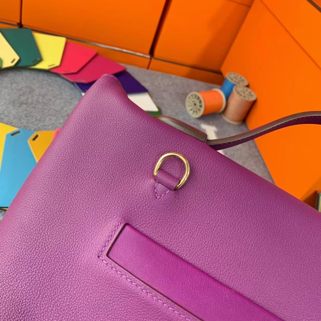 Hermès(爱马仕)Kelly  2424 海葵紫 原厂御用顶级Evercolor皮拼Swift 皮 金扣 现货