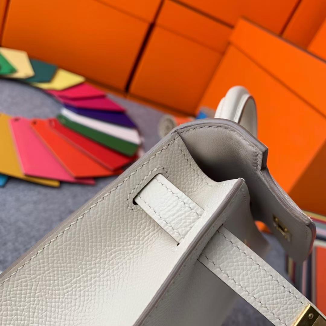 Hermès(爱马仕)Mini Kelly 迷你凯莉 奶昔白 原厂御用顶级Epsom 皮 二代 金扣 现货