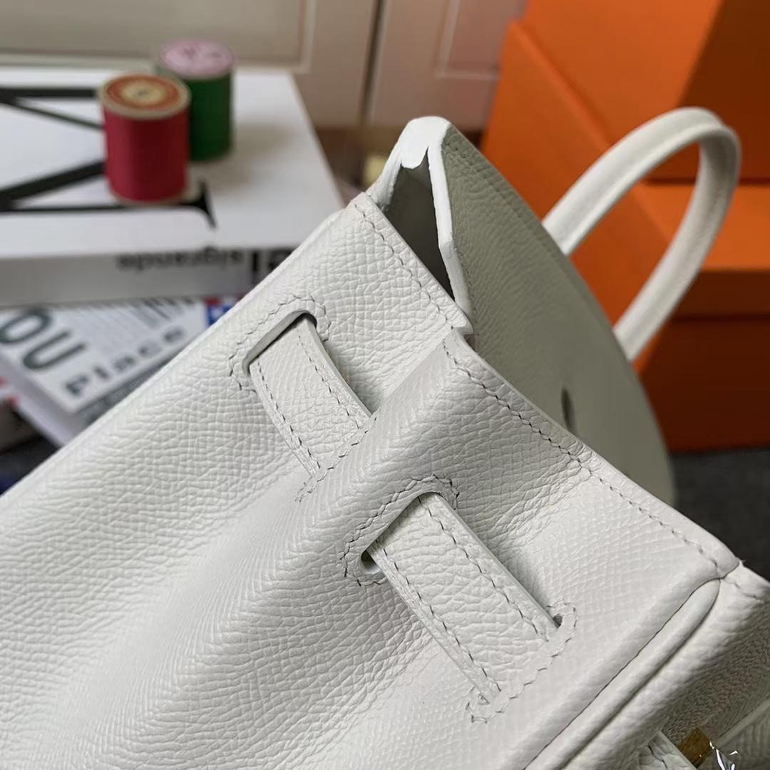Hermès(爱马仕)Birkin 铂金包 纯白色 原厂御用顶级Epsom 皮 金扣 25cm