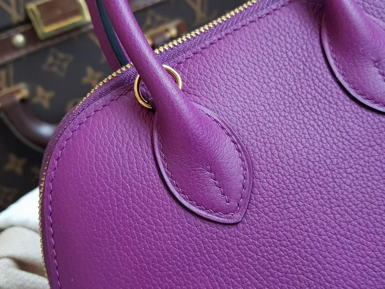 Hermès(爱马仕)Bolide 1923 保龄球包 mini eve 小牛皮 P9 海葵紫色 金扣